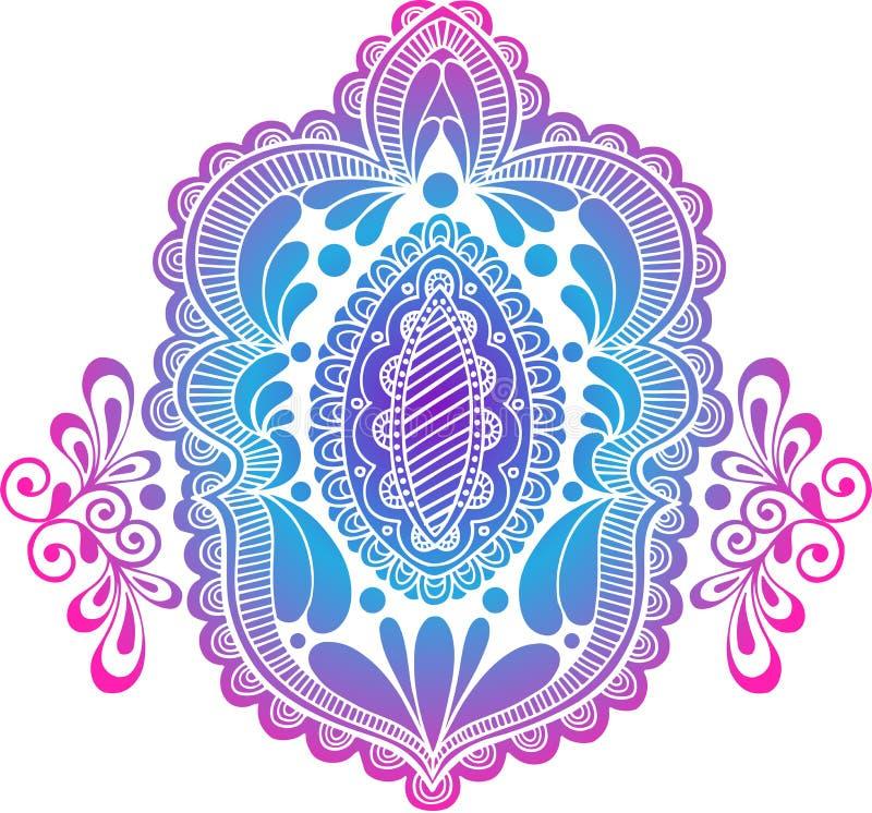 Vector van het Medaillon van de Henna van het silhouet de Abstracte stock illustratie