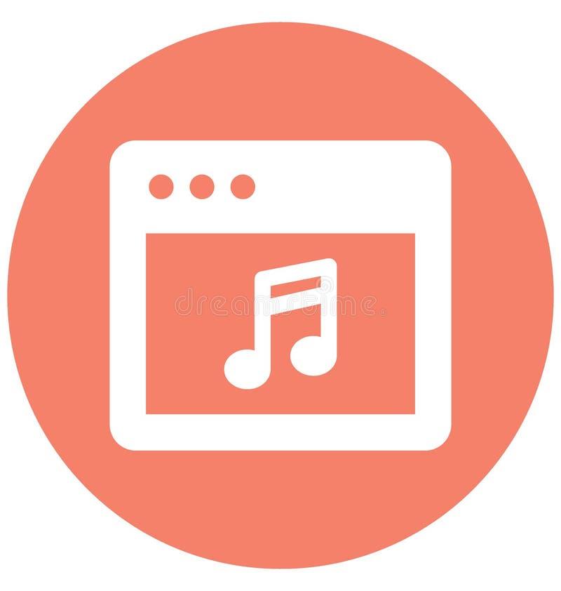 Vector van het muziekteken met betrekking tot Webbrowservensters en de volledig editable vector illustratie