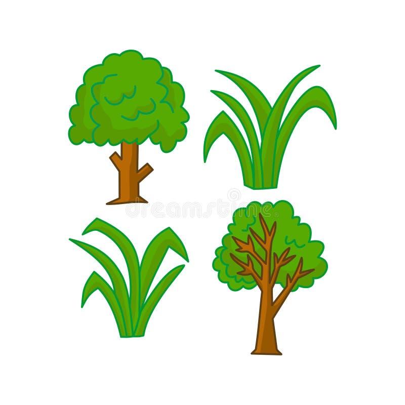Vector van het het Ontwerp de Grafische Malplaatje van het boombeeldverhaal vector illustratie