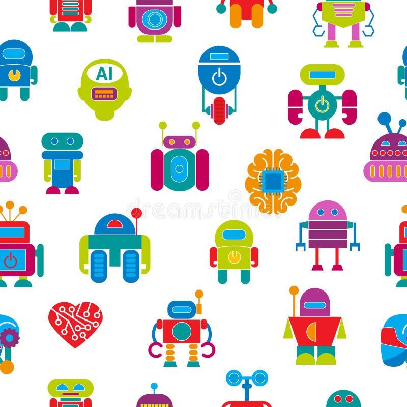 Vector van het het ontwerp futuristische jonge geitje van de robottechnologie van de babykinderen vlakke van de het karaktermachi stock illustratie