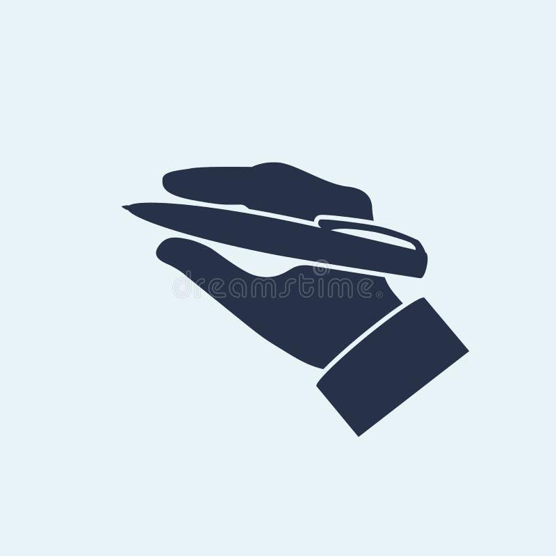 Vector van het pen in hand silhouet stock illustratie