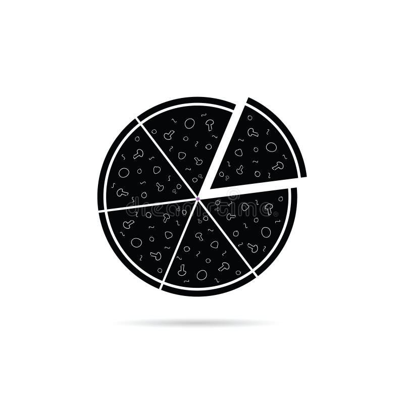 Vector van het pizza de zwarte pictogram royalty-vrije illustratie