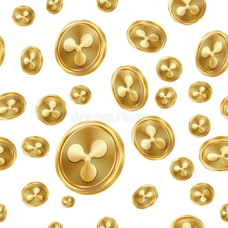 Vector van het rimpelings de Naadloze Patroon Gouden muntstukken Digitale munt Fintech Blockchain Geïsoleerde achtergrond Gouden  royalty-vrije illustratie