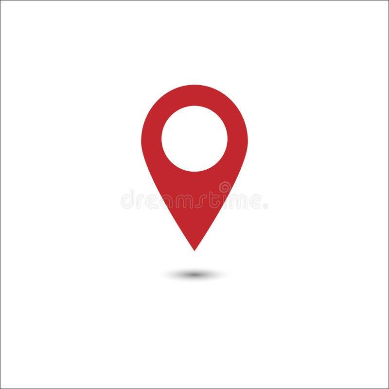 Vector van het rode pictogram van de kaartwijzer GPS-plaatssymbool Vlak Ontwerp vector illustratie