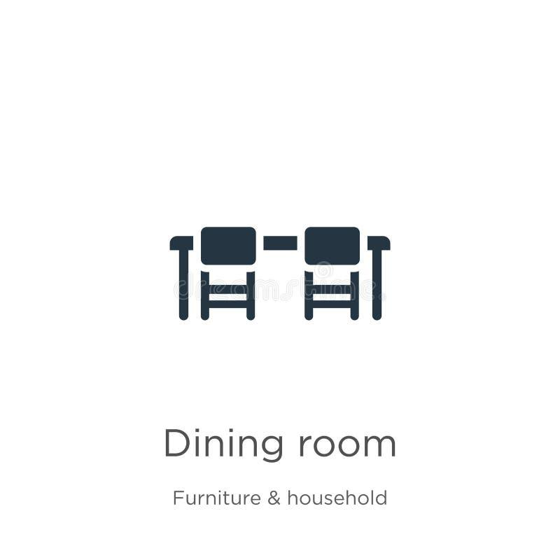 Vector van het het ruimtepictogram Trendy flat dining room-pictogram van meubels en huishoudelijke verzameling geïsoleerd op witt royalty-vrije illustratie