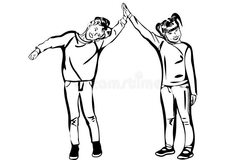 Vector van het schetsjongen en meisje greephanden vector illustratie