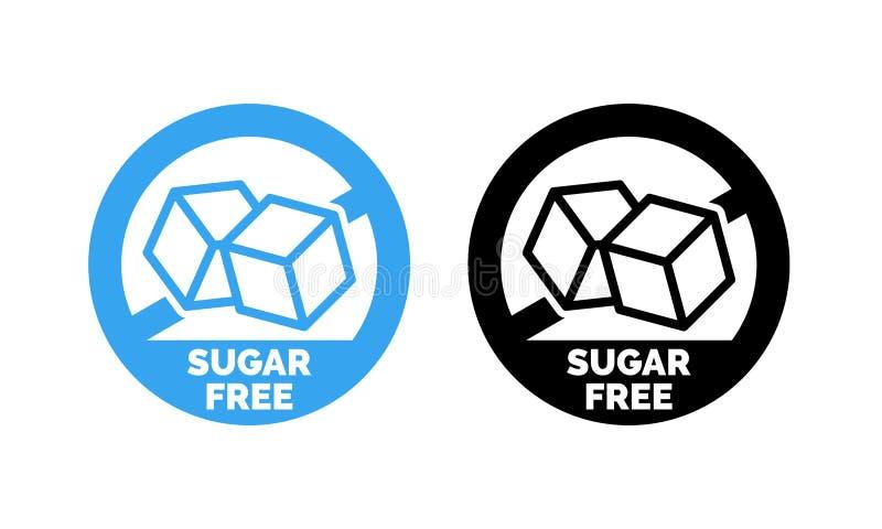 Vector van het suiker de vrije etiket noch suiker toegevoegd pakket stock illustratie