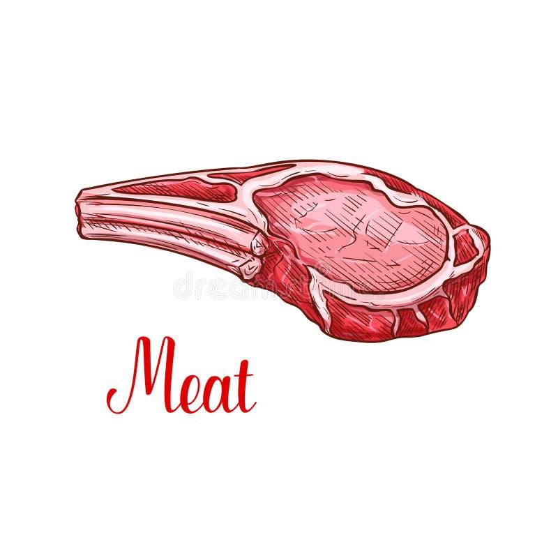 Vector van het het vleesstuk van het schetsrundvlees het landbouwbedrijf vers pictogram stock illustratie