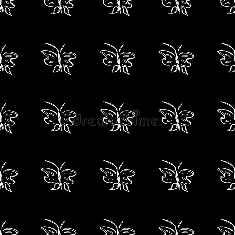 Vector van het vlinder de naadloze overzicht in de stijl van de lijnkunst op zwarte achtergrond De vlinder van de lijnkunst De di stock illustratie