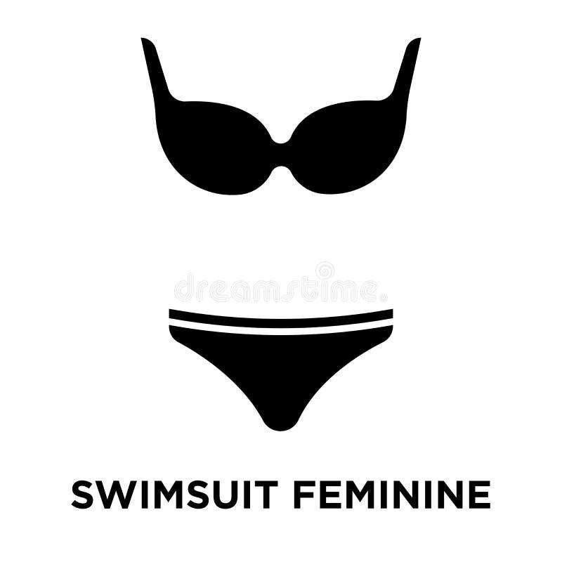 Vector van het zwempak de vrouwelijke die pictogram op witte achtergrond, embleem wordt geïsoleerd royalty-vrije illustratie