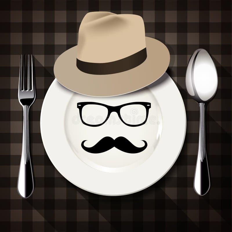 Vector van Hipster-stijl op witte plaat met lepel en vork vector illustratie