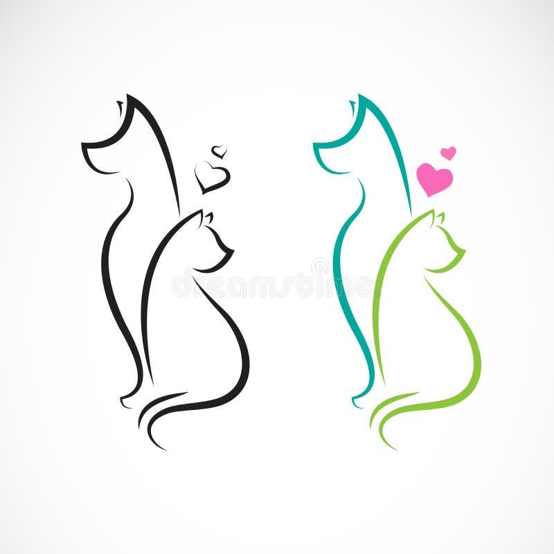 Vector van hond en kat op witte achtergrond Huisdier dieren Gemakkelijke editable gelaagde vectorillustratie stock illustratie