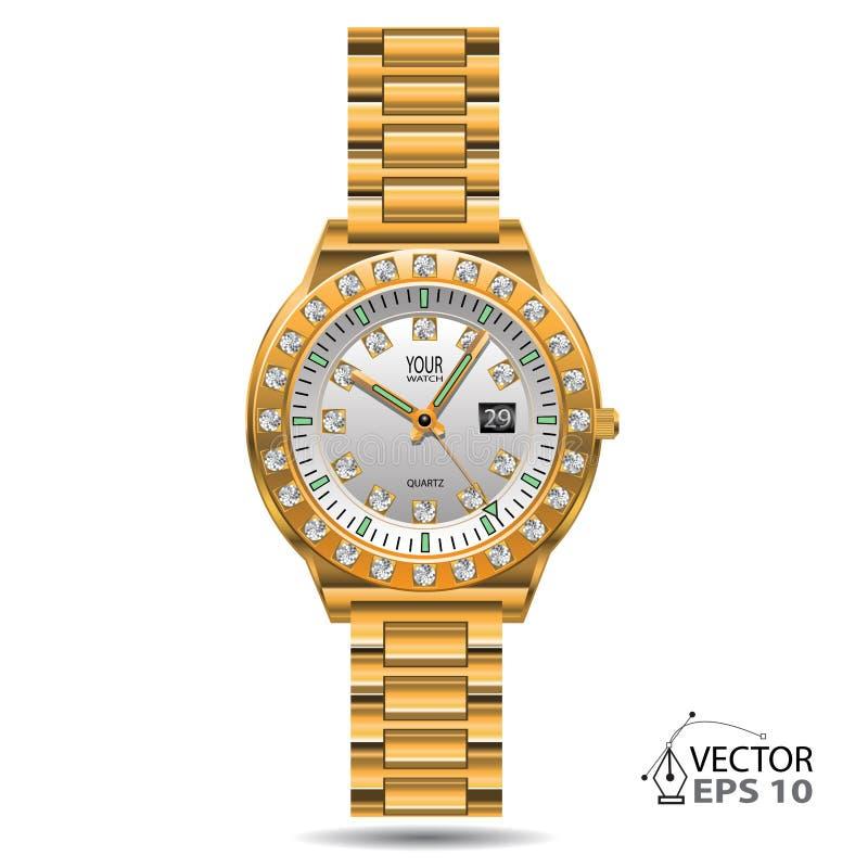 Vector van horloge de gouden diamanten vector illustratie