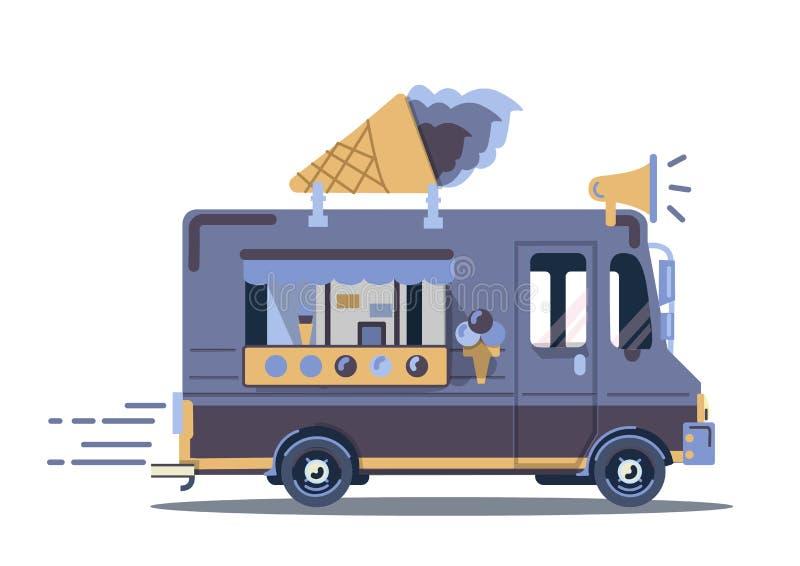 Vector van illustration Camión retro del helado del vintage imágenes de archivo libres de regalías