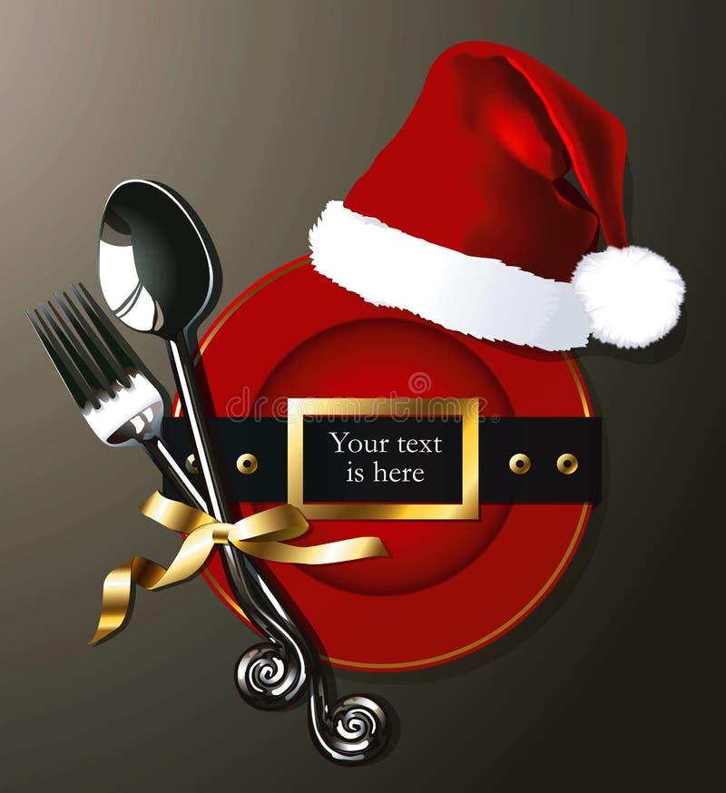 Vector van Kerstmanriem op Rode plaat met vork en lepel stock illustratie