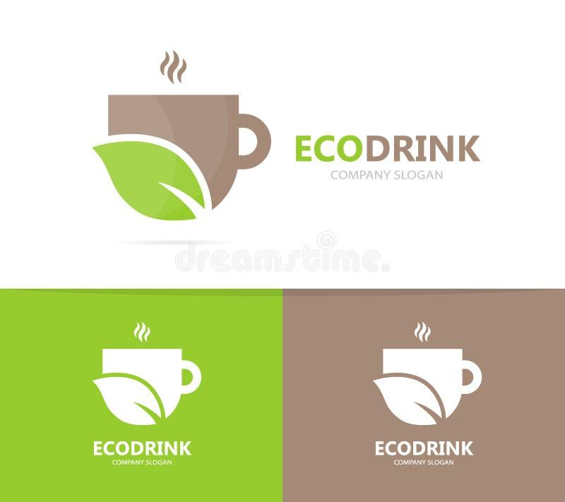 Vector van koffie en bladembleemcombinatie Drank en ecosymbool of pictogram Uniek organisch kop en thee logotype ontwerp stock illustratie