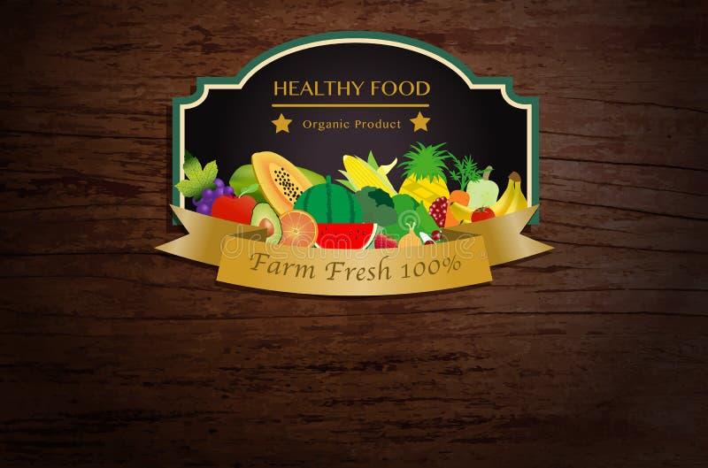 Vector van landbouwbedrijf verse vruchten en groenten affiche royalty-vrije illustratie