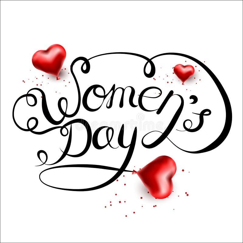 Vector van letters voorziende die hand op een witte achtergrond wordt getrokken Internationale Vrouwens Dag op 8 Maart stock illustratie