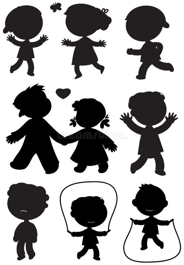 Vector van negen kinderen de zwarte silhouetten stock illustratie