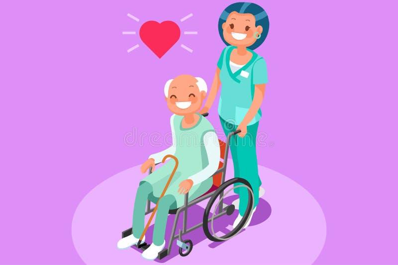 Vector van pensionerings de Communautaire Isometrische Mensen royalty-vrije illustratie