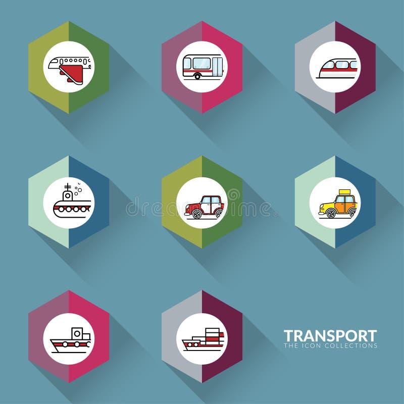 Vector van pictogrammen voor de reeks van de het tekeninzameling van vervoersvoertuigen vector illustratie