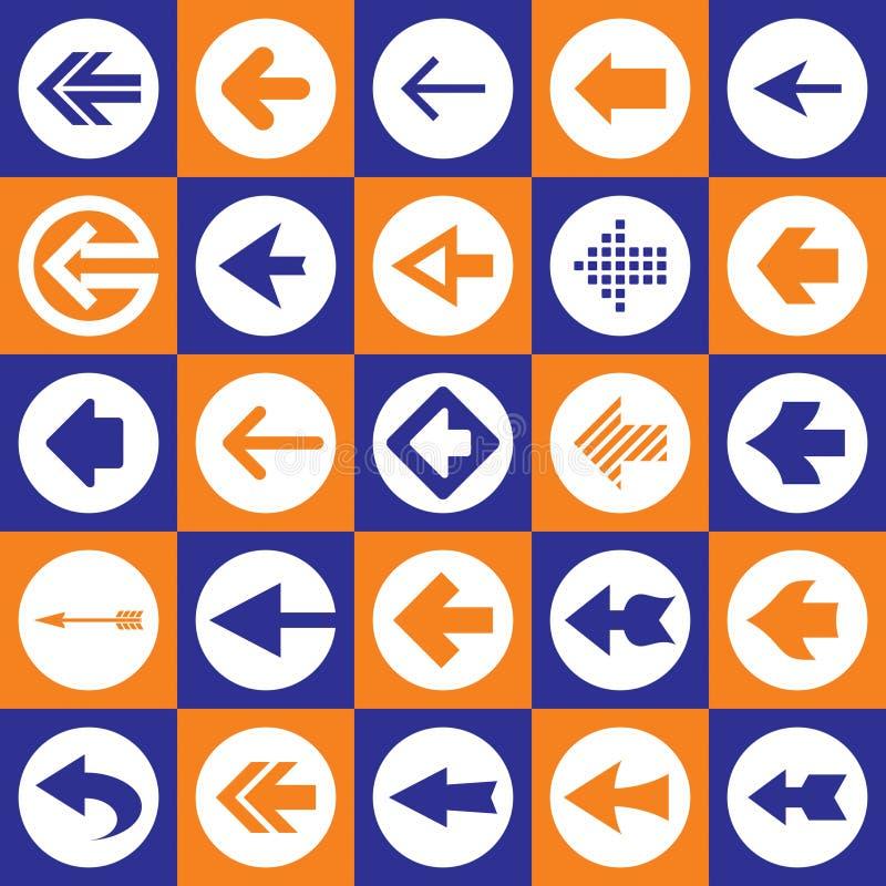 Geplaatste de Pictogrammen van het Teken van pijlen vector illustratie