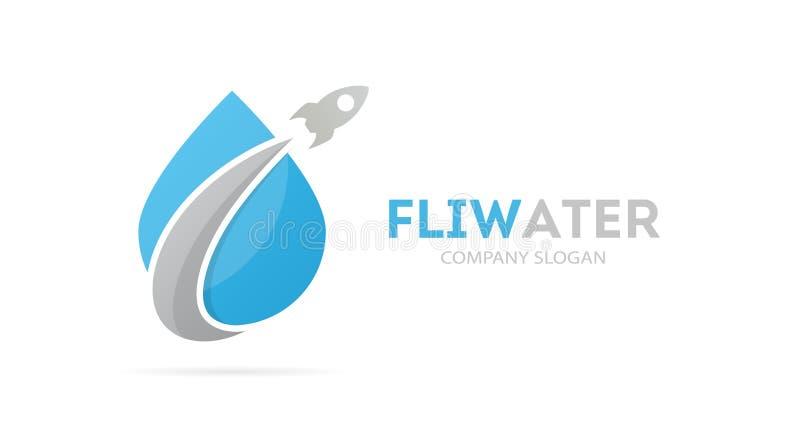 Vector van raket en de combinatie van het dalingsembleem Vliegtuig en aquasymbool of pictogram Uniek water en olie logotype ontwe stock illustratie