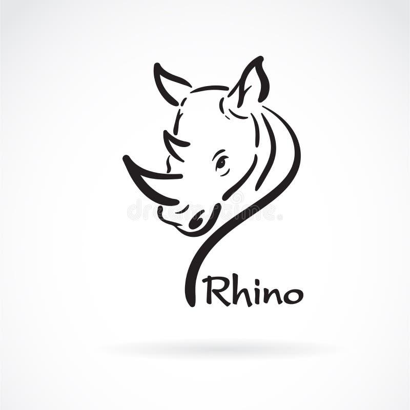 Vector van rinoceros uit de vrije hand het hoofd schilderen op witte achtergrond Wilde dieren Gemakkelijke editable gelaagde vect royalty-vrije illustratie