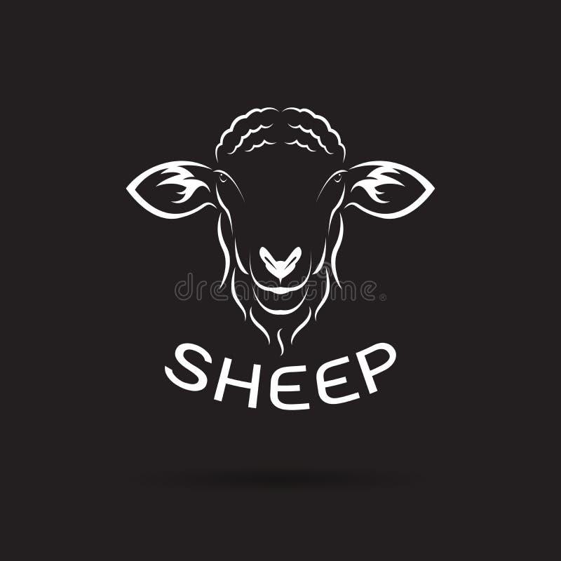 Vector van schapen hoofdontwerp op zwarte achtergrond Wilde dieren stock illustratie
