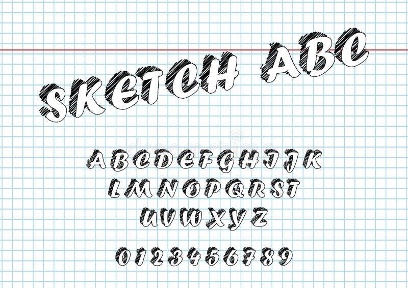 Vector van Schets gewaagde doopvont en alfabethand Getrokken Schets royalty-vrije illustratie