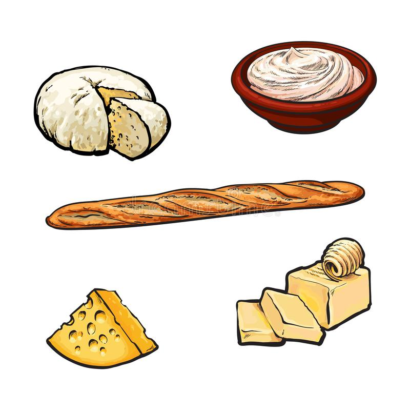 Vector van schets zuivelproducten en baguette reeks vector illustratie
