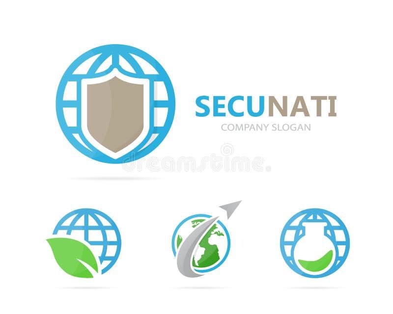 Vector van schild en planeetembleemcombinatie Veiligheid en wereldsymbool of pictogram Uniek bescherm en bol logotype stock illustratie