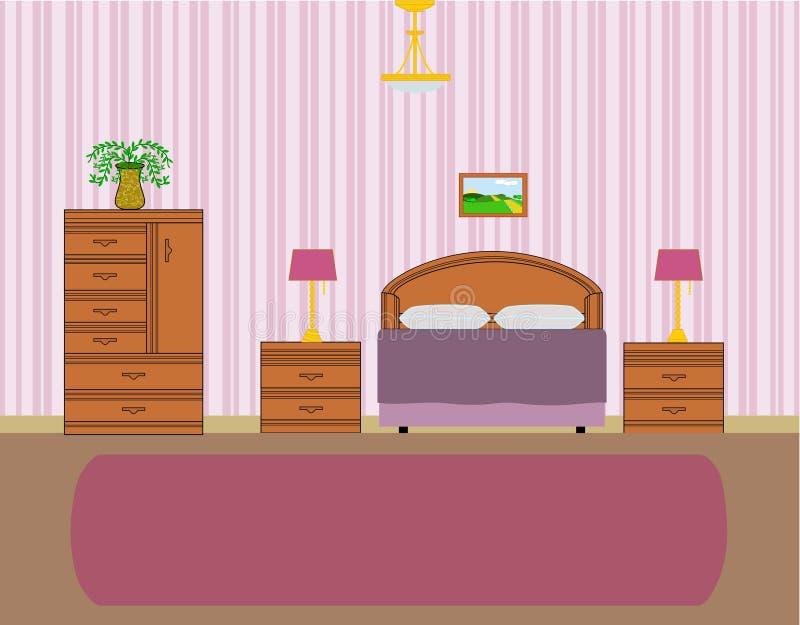 Vector van slaapkamerbinnenland stock afbeeldingen