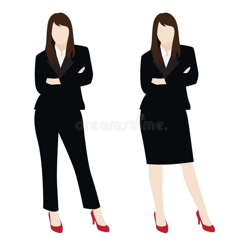 Vector van slimme bedrijfsvrouw in zwart die kostuum op achtergrond wordt geïsoleerd stock illustratie