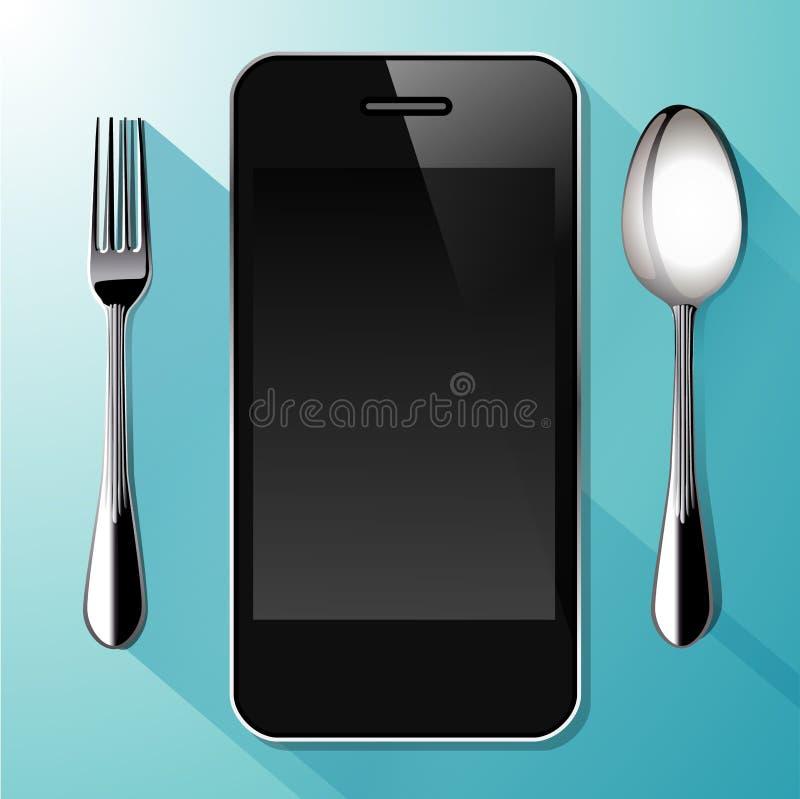 Vector van Smartphone met lepel en vork vector illustratie