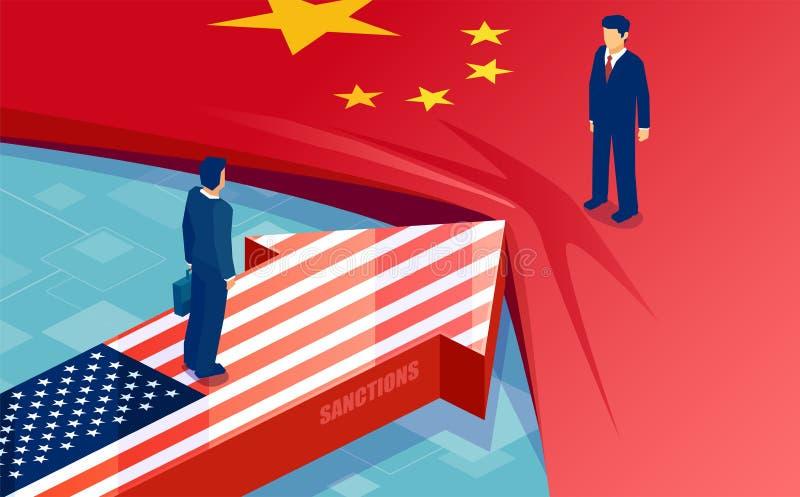 Vector van twee het verzetten zich vlaggen, zakenlieden, handelspartners als symbool van economisch geschil vector illustratie