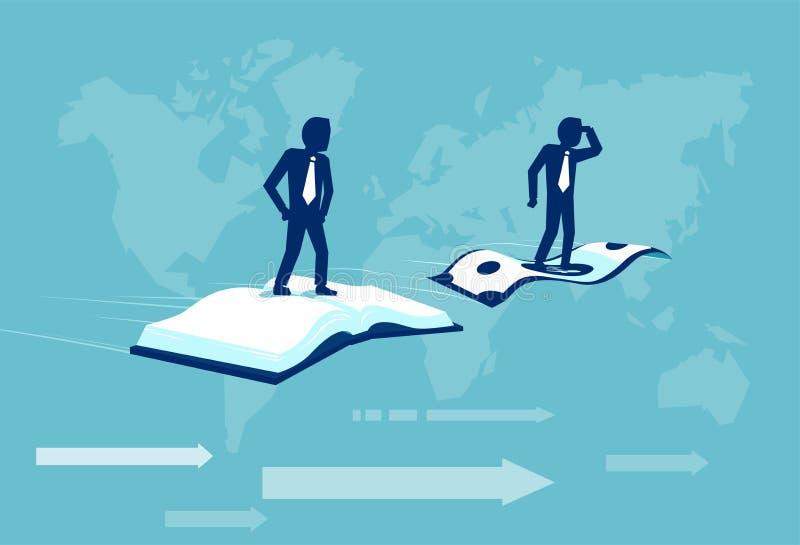 Vector van twee zakenlieden die op een dollarbankbiljet en een open boek vliegen royalty-vrije illustratie