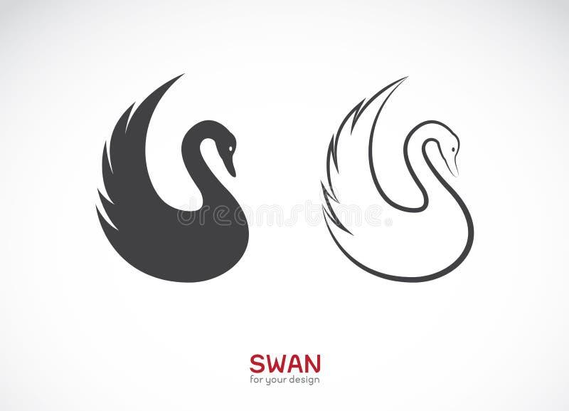 Vector van twee zwaanontwerp op witte achtergrond embleem stock illustratie