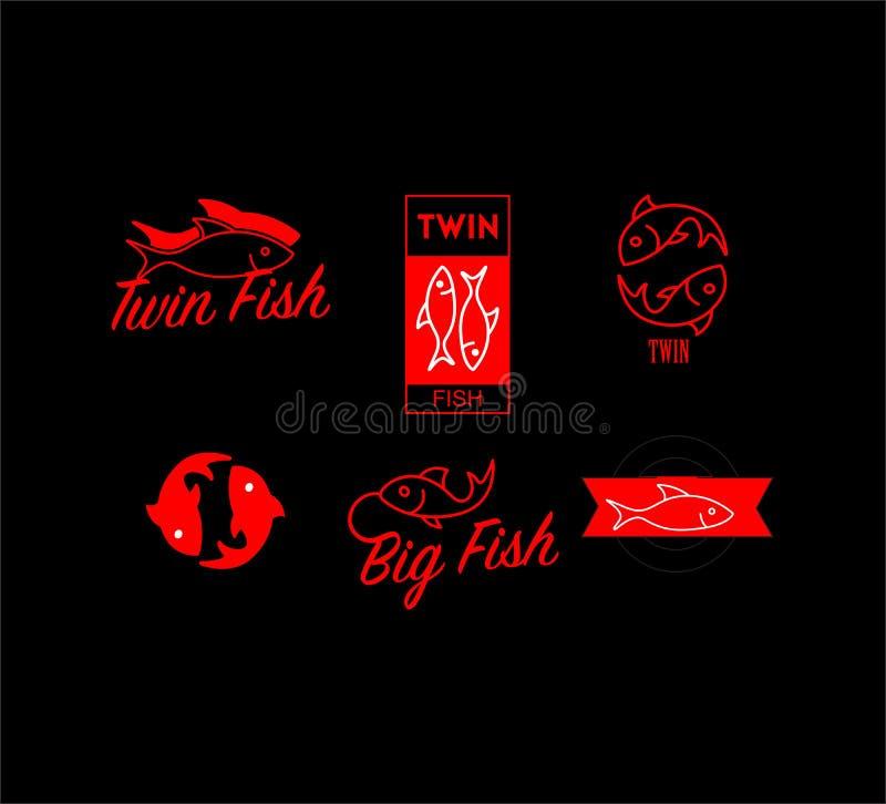 Vector van Tweelingvissenembleem, Rode Vissen stock illustratie