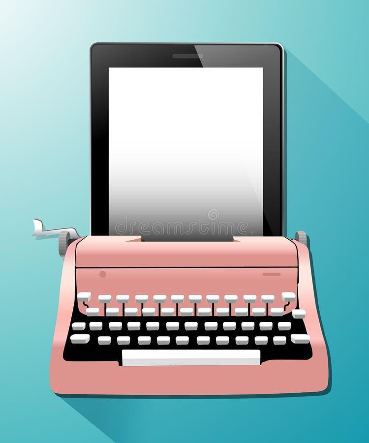Vector van Uitstekende Schrijfmachines met tablet royalty-vrije illustratie