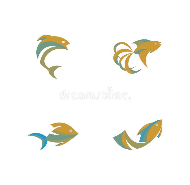 Vector van Vissenembleem, het Embleem van Vissenhuisdieren, Mooie Vissen, Gouden Vissen vector illustratie