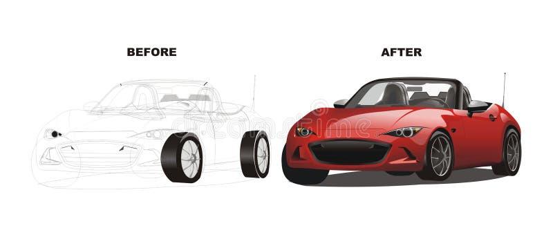 Vector van voordien na rode sportwagentekening vector illustratie