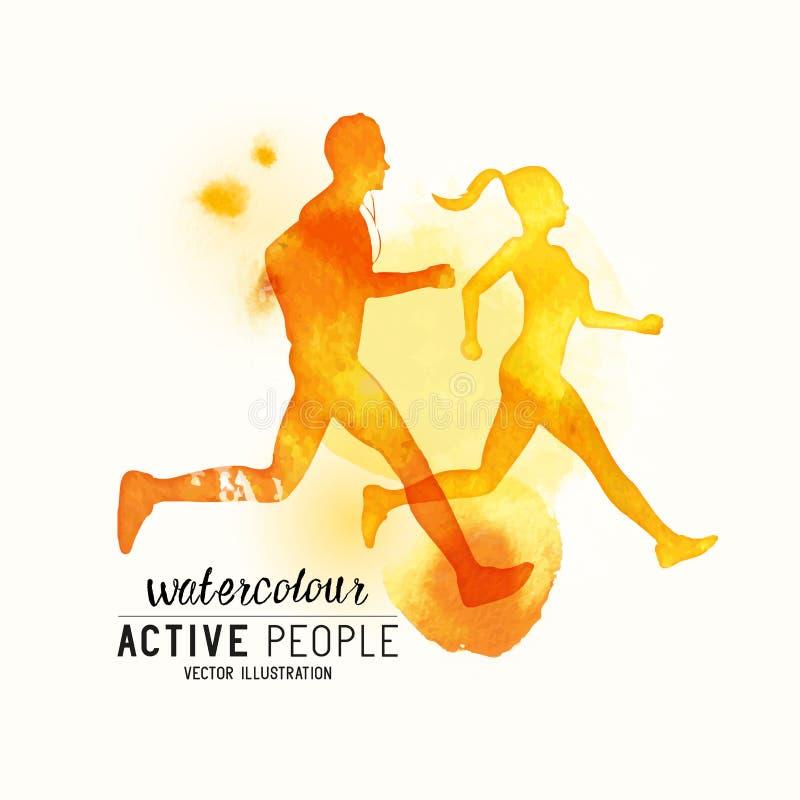Vector van Watercolour de lopende Mensen vector illustratie
