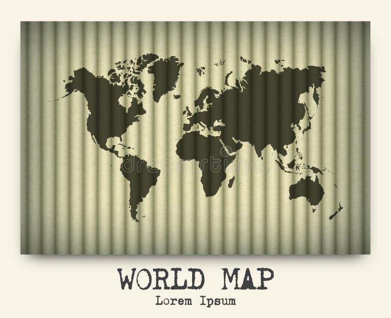 Vector van wereldkaart op karton vector illustratie