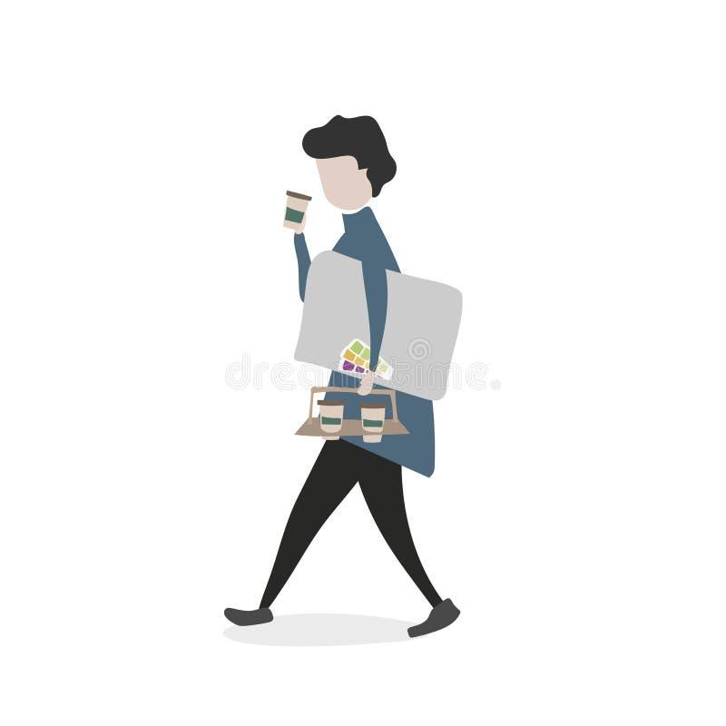Vector van werknemer het lopen en het drinken royalty-vrije illustratie