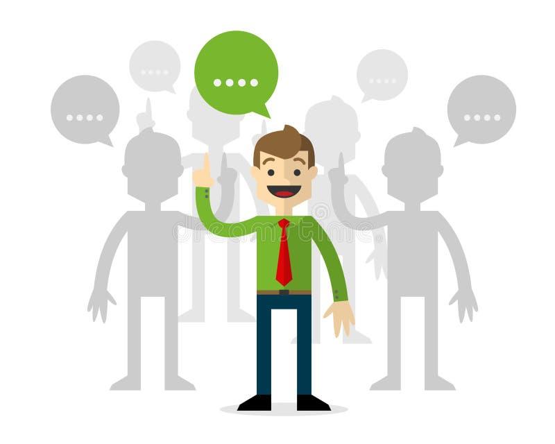 Vector van zakenlieden in forums, het spreken royalty-vrije illustratie
