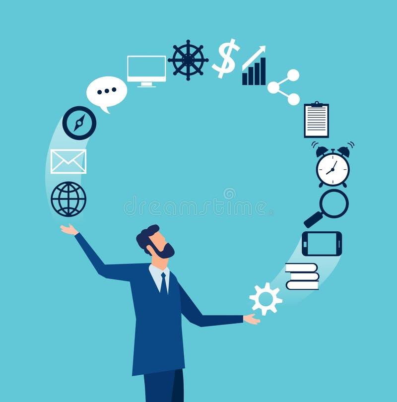 Vector van zakenman het jongleren met bedrijfspictogrammen royalty-vrije illustratie