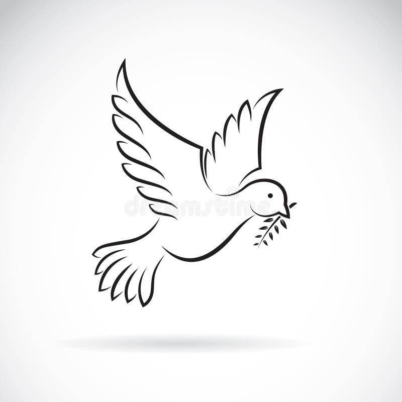 Vector van zwarte duif van vrede met olijftak Dier royalty-vrije illustratie