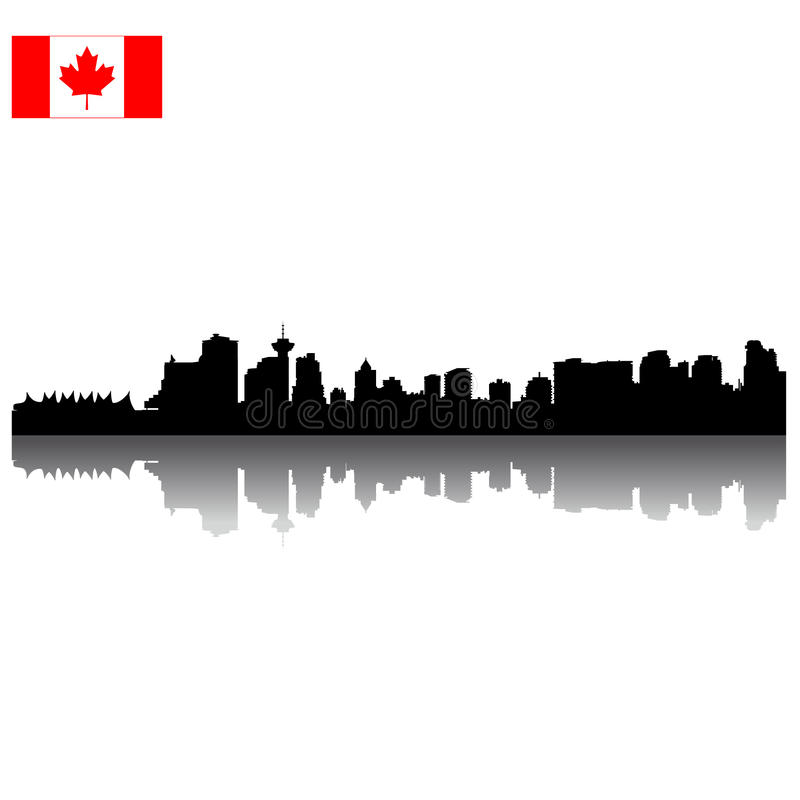 Download Vector Vancouver Silhouette Skyline With Canadian Stock Vector - Illustration of urban, scene: 13159449