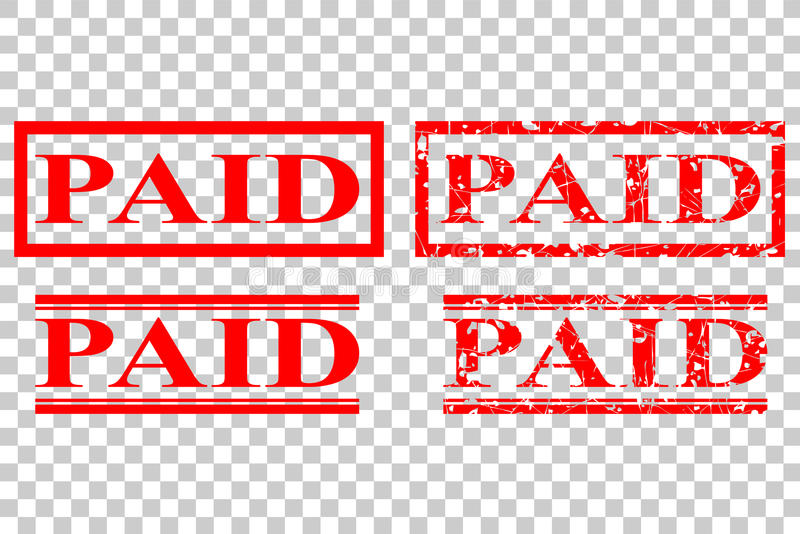 Various style of rubber stamp paid at transparent effect background stock illustration